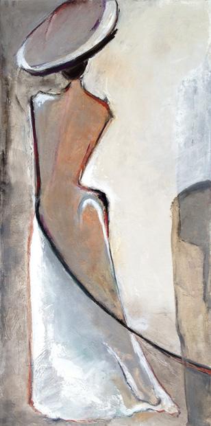 anne larios peintures femme chapeau gris 97x195. Black Bedroom Furniture Sets. Home Design Ideas